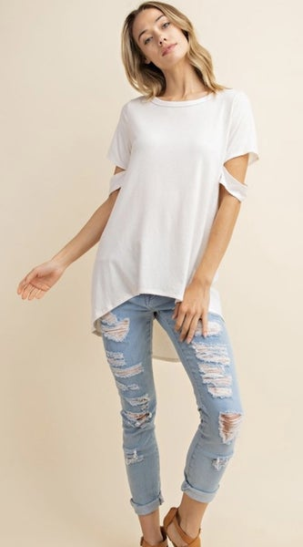 Cut out sleeves top in Dove