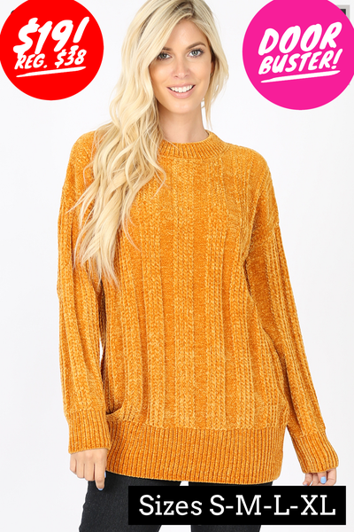 Mustard cable knit chenille sweater