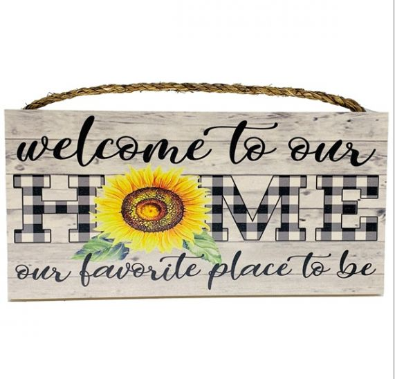 """""""Welcome To Our Home"""" Sign w/ Rope"""