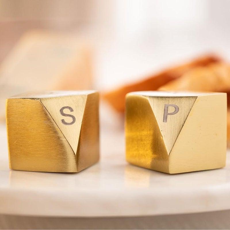 RC Gold Metal Block Shape Salt & Pepper Shaker  Set