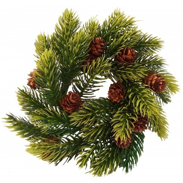 Pine Candle Ring w/ Cones