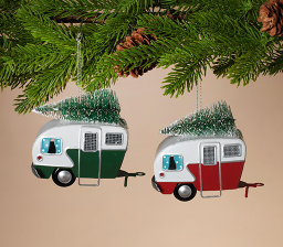 "4.25"" Metal Holiday Camper w/ Tree ornament"