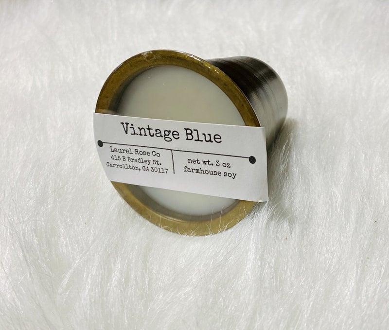 Sugar Mold Candle Cup- Vintage blue