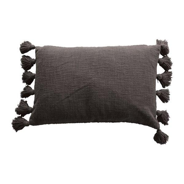 Cotton Slub Lumbar Pillow w/ Tassels, Iron Color