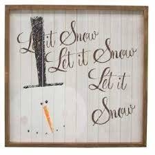 """""""Let it snow, Let it snow"""" wooden Snowman sign"""