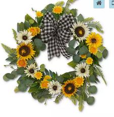"22""D Sunflower & Eucalyptus Wr"