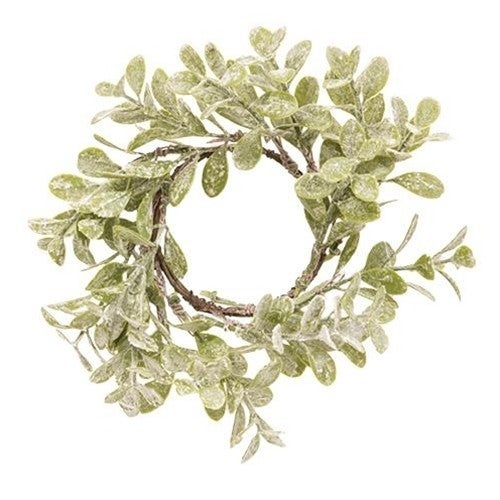 "Flocked Laurel Candle Ring, 2.5"""