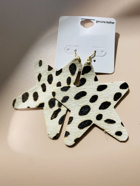 Spotted Leather Star Earrings