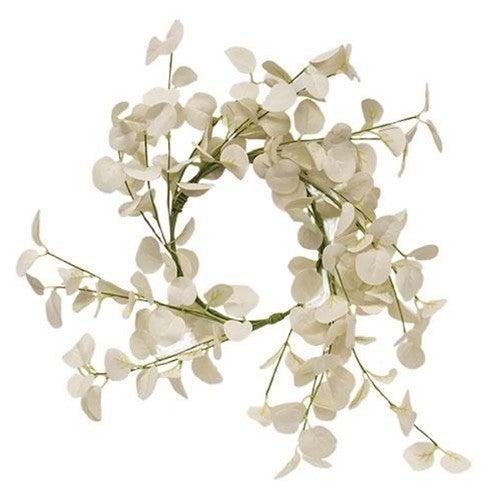 """16"""" Foamy Silver Dollar Wreath- Cream"""