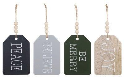Wood Word/Bead Tag Ornament