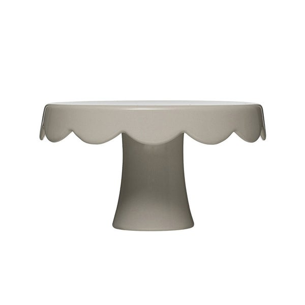 Stoneware Scalloped Cake Pedestal- Grey