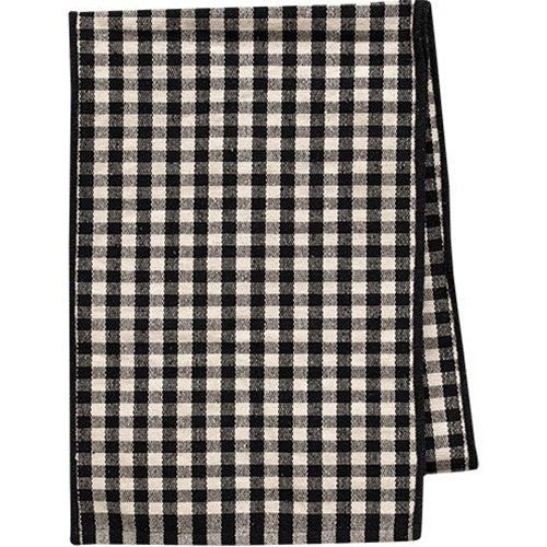"""Black & White Check Recycled Woven Cotton Runner, 18"""" x 9ft"""