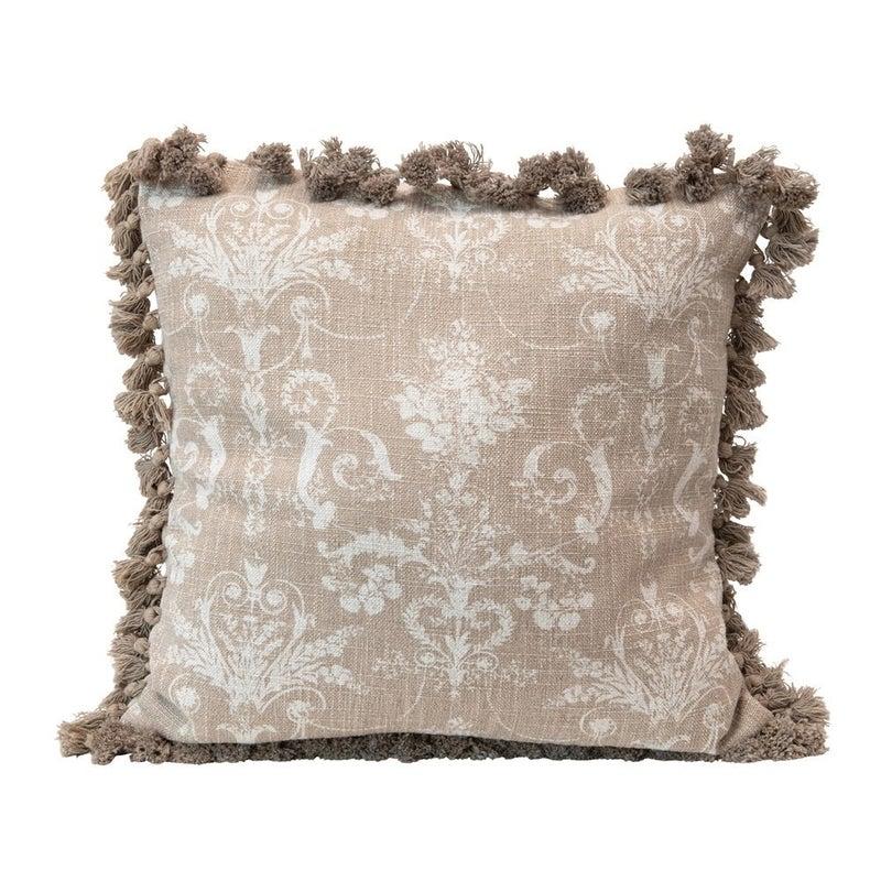 "18"" Square Cotton Blend Pillow w/ Damask Pattern & Tassels"