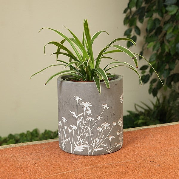 "6.7""H Cement Flower Design Planter"