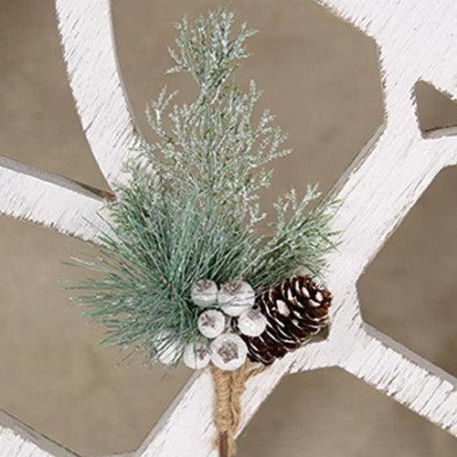White Glittered Berry and Pinecone Pine Spray
