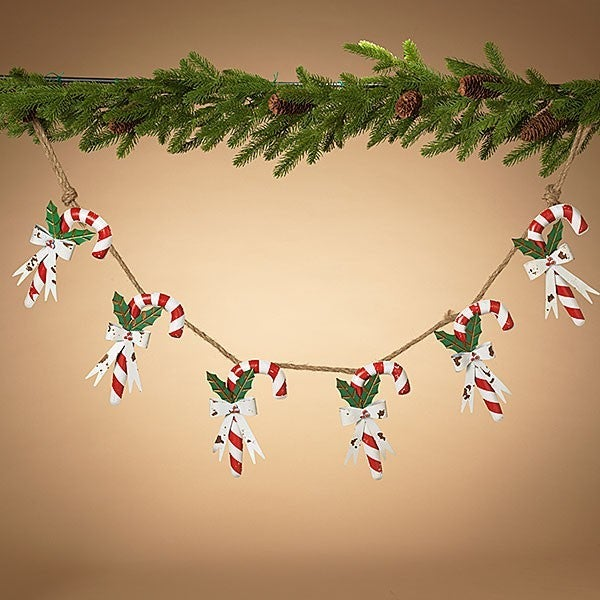 "51""L Metal Holiday Candy Cane Garland"