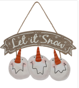 "Wood ""Let it Snow"" Hanging Sign"