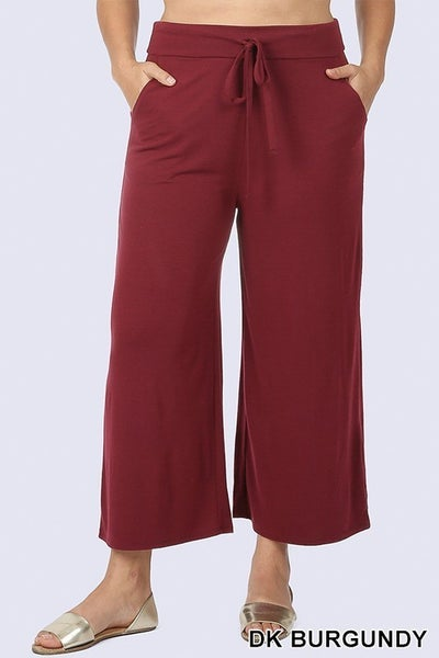 PLUS CROPPED LOUNGE PANT WITH DRAWSTRING WAIST AND SIDE POCKETS