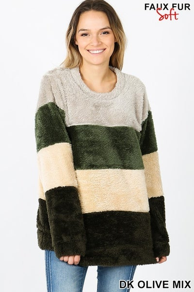 FAUX FUR MULTI COLOR BLOCK PULLOVER