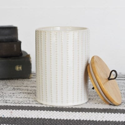 """5.9"""" WHITE CANISTER WITH LID"""