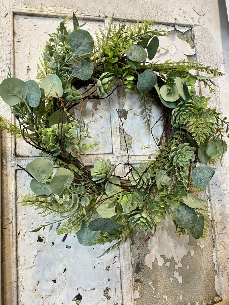"20""D Eucalyptus & Fern Wreath"