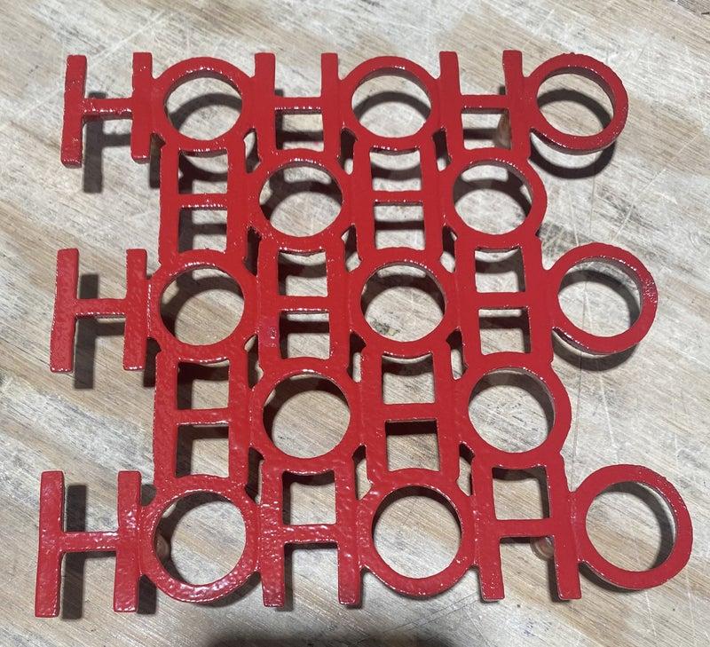 Sq HO HO HO Trivet - Shiny Red X
