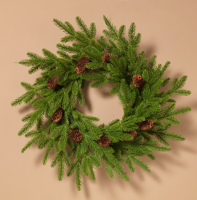 "24""L Natural Pine and Pinecone Wreath"