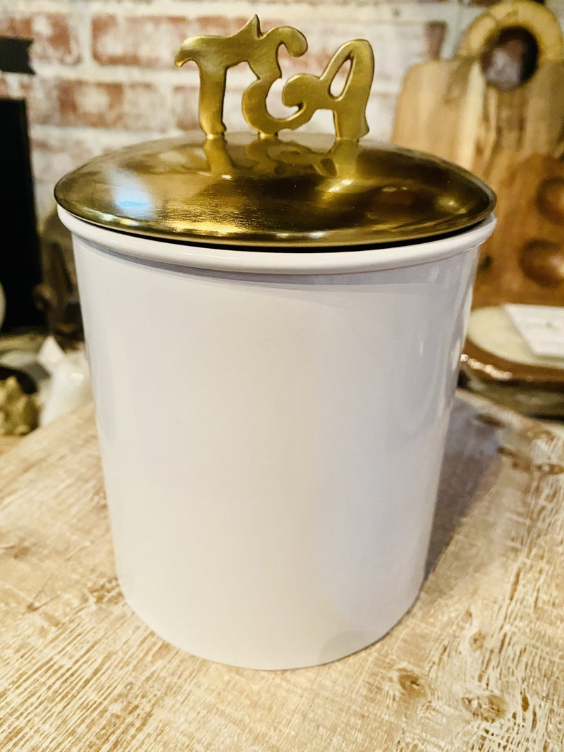 Tea Word Canister - Wht w/Brushed Gold Tone  Lid