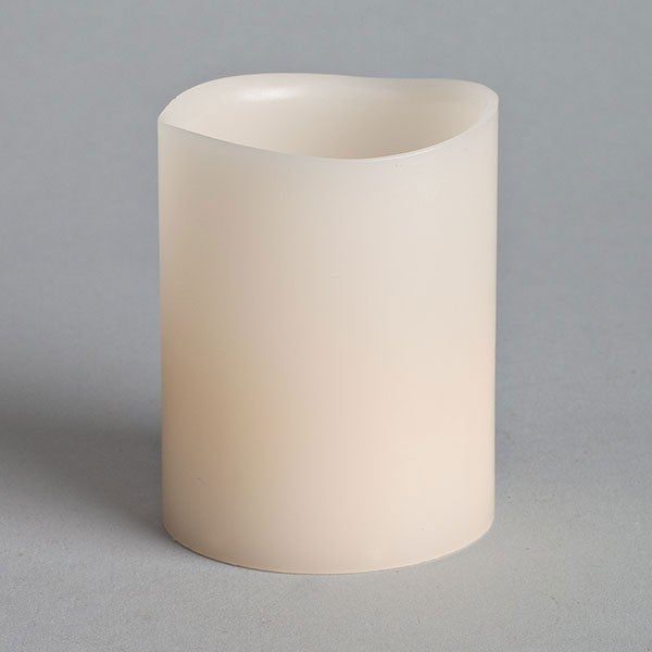 "2.5""H LED Votive, Wax, Bisque"