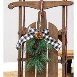 Hanging Pine Spray w/Buffalo Check Bow