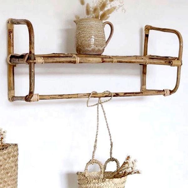 Faux Tin Bamboo Shelf W/ Towel Holder