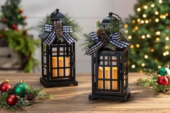 Set of Two Lanterns with Led candle