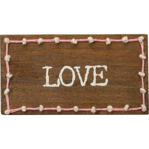 """LOVE"" Stitched Block Magnet"