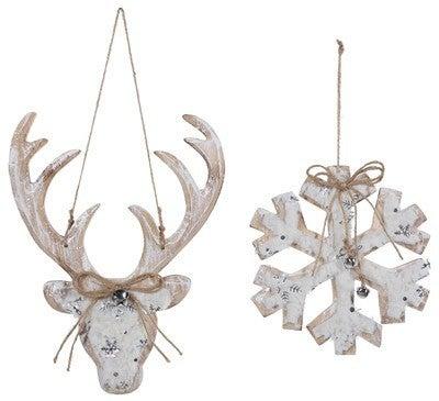 Wooden Snowflake/ Deer Ornament