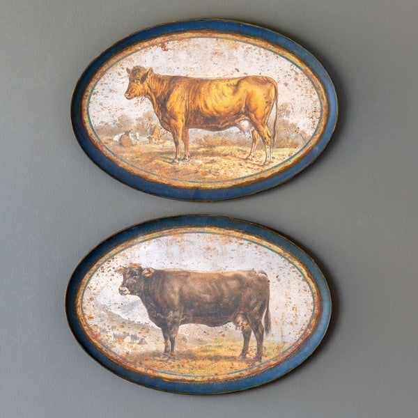 Aged Brown Cows Decorative Hanging Tray