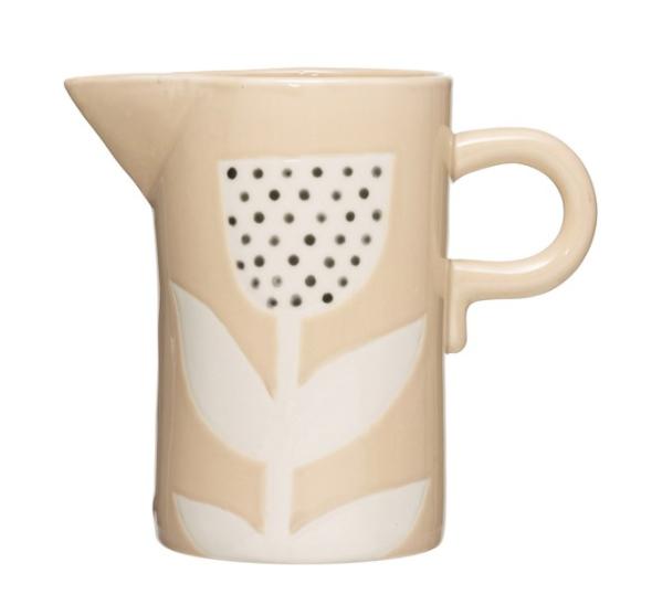 Hand-Painted Stoneware Pitcher w/ Flower