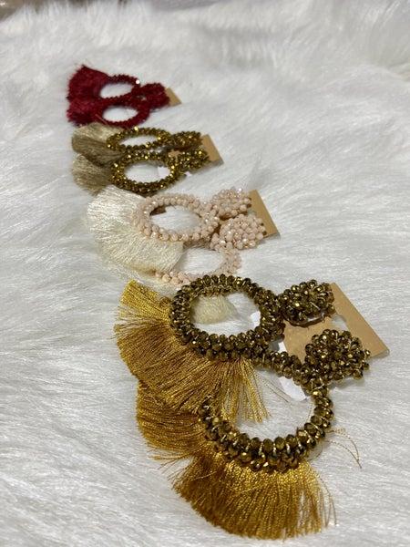 Beaded O Earrings W/ Tassel