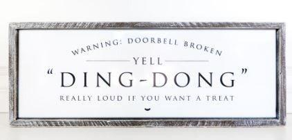 """""""DING - DONG"""" Enamel Framed Sign"""