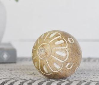 """3.15"""" CARVED WOOD BALL"""