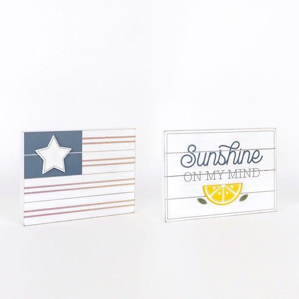 Reversible Wood Shiplap Sign- (Flag/ Sunshine)