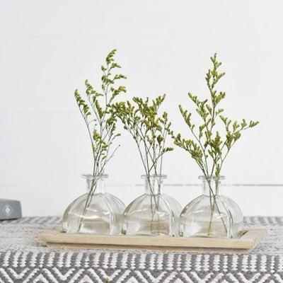 3 BOTTLE GLASS/WOOD TRAY