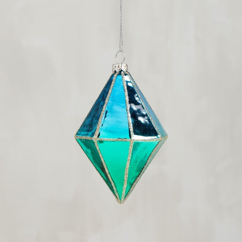 Glass Ornament - Faceted Blue