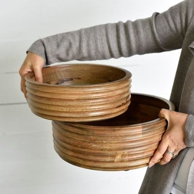 ROUND CARVED WOOD BOWL
