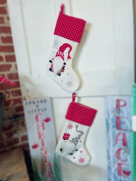 "20""L Fabric Christmas Gnome Stocking- Assorted"