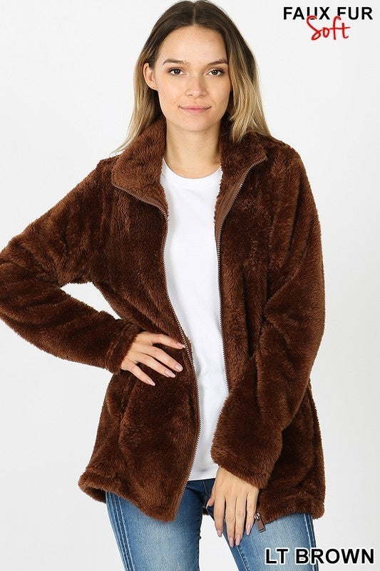 FAUX FUR ZIPPER FRONT JACKET WITH SIDE POCKETS