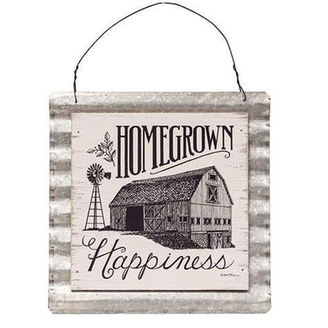 Homegrown Happiness Wood & Corrugated Metal Wall Sign