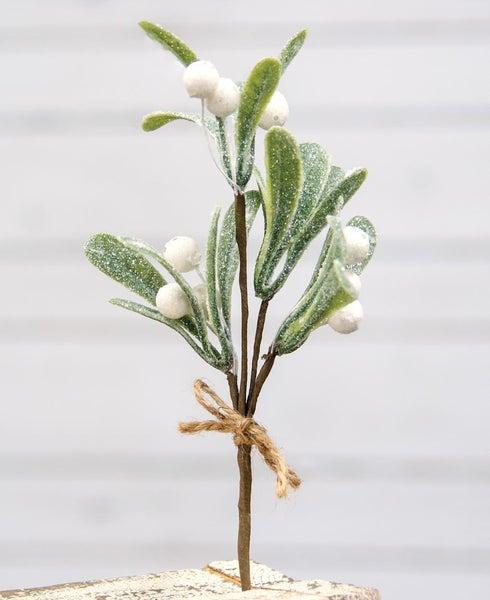 """Glittered Mistletoe Pick- 8.5"""""""