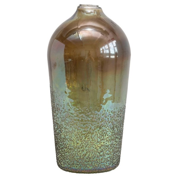 "10"" Seeded Green Glass Vase"