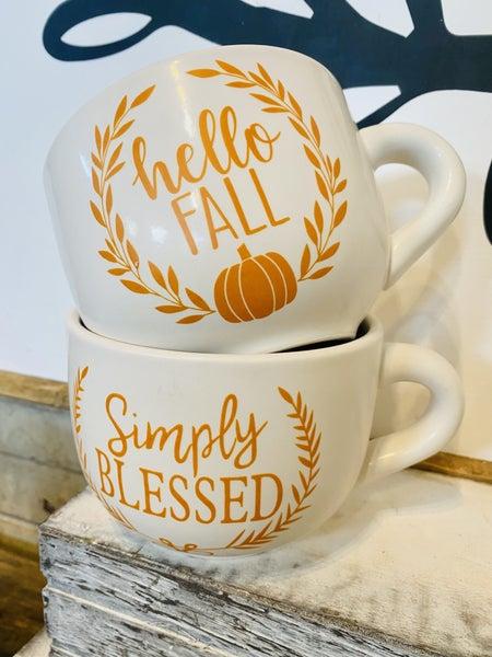 Ceramic Fall/Blessed Capp Mug- Assorted