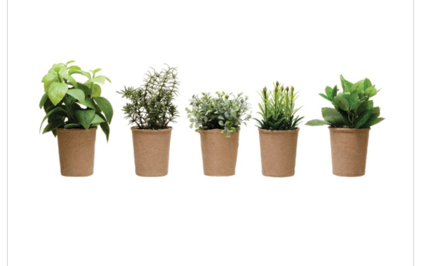 """7.5""""H Faux Herb in Paper Pot- Assorted"""